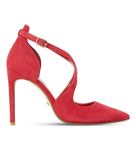 DUNE Dakotah suede cross strap heel (Red-suede