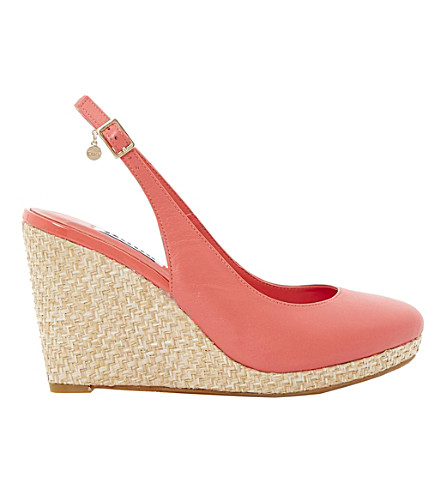 DUNE Cecille espadrille wedge sandals (Coral-leather