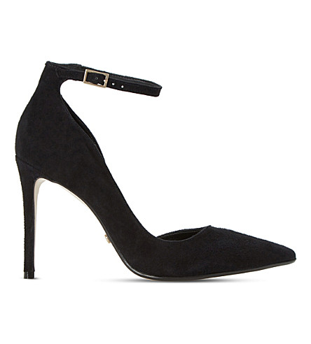 DUNE Clementine suede semi d'orsay courts (Black-suede