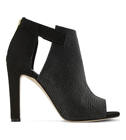 DUNE Cersei peep-toe textured leather ankle boots (Black-reptile