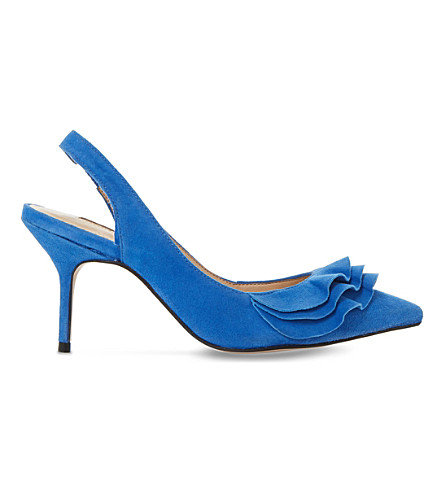 DUNE Cotton ruffled suede court shoes