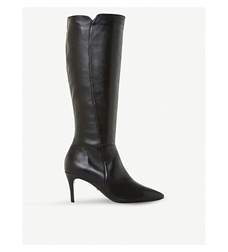 DUNE Clean Point leather knee-high boots (Black-leather