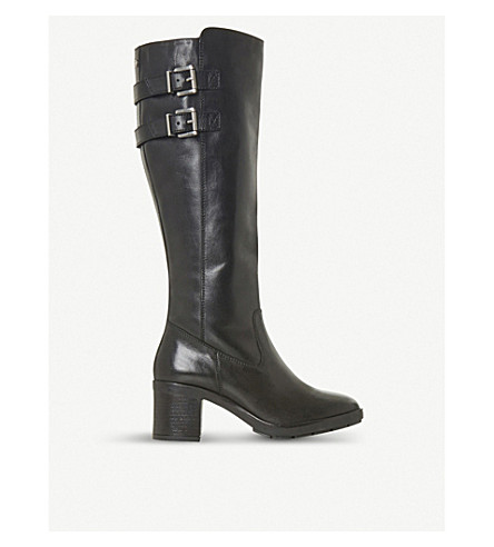DUNE Trader leather knee-high boots (Black-leather