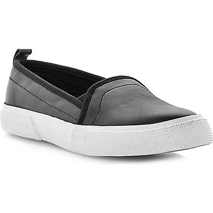 DUNE Lamarr contrasting sporty sole slip on (Black-leather