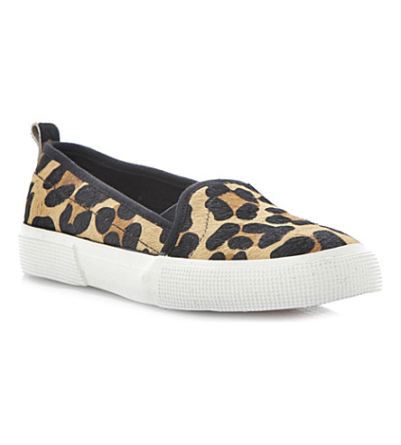 DUNE Lamarr contrasting sporty sole slip ons (Leopard-pony