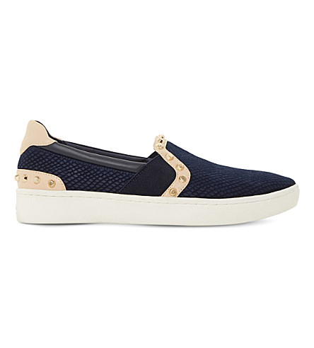 DUNE Edit studded leather skate shoes (Navy-reptile