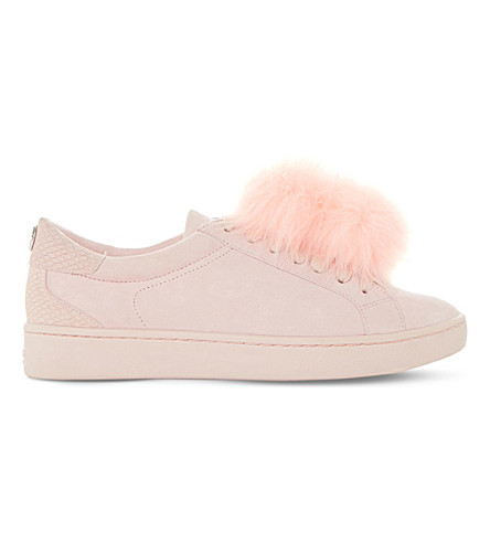 DUNE Pom-pom suede trainers (Pale+pink-leather