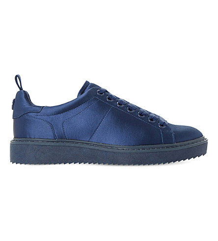 DUNE Etch satin lace-up trainers (Navy-satin