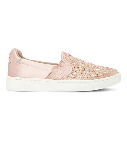 DUNE Eilish metallic embellished trainers (Rose+gold