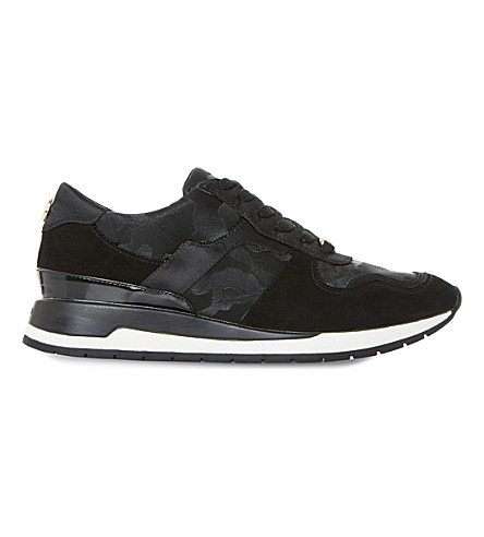 DUNE Elena patterned suede trainers (Black-suede
