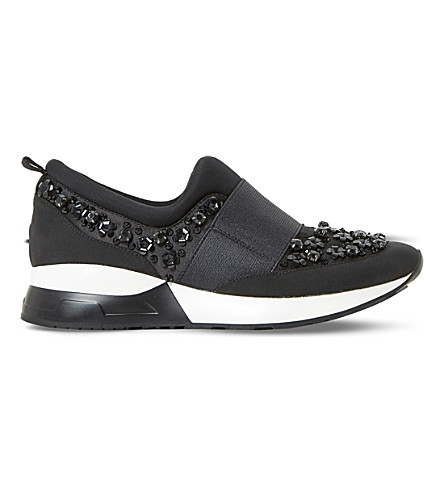 DUNE Elisha embellished fabric trainers (Black-fabric