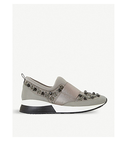 DUNE Elisha embellished trainers (Grey-fabric