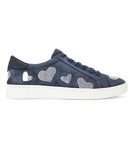 DUNE Everlasting heart-embellished suede trainers (Navy-suede