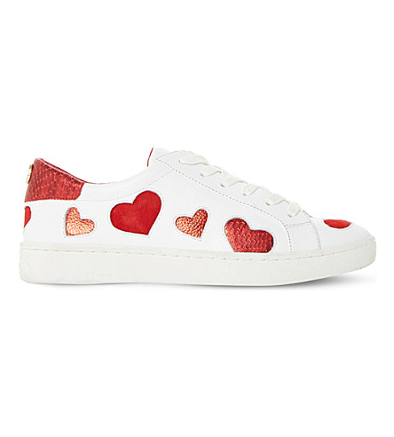 DUNE Everlasting heart-embellished leather trainers (White-leather