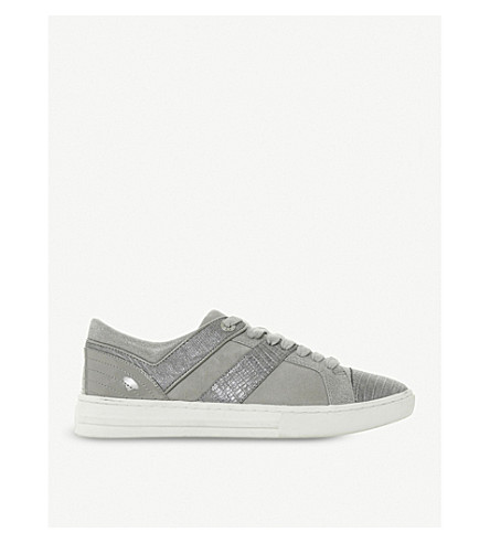 DUNE Eboni snake-embossed leather trainers (Grey