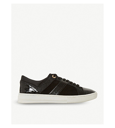 DUNE Eboni snake-embossed leather trainers (Black-leather+mix