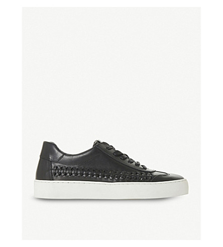 DUNE Elurru woven-detail leather trainers (Black-leather