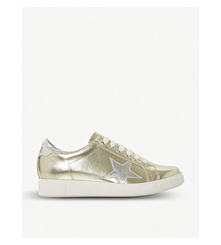 DUNE Edris star applique metallic-leather trainers (Gold-leather