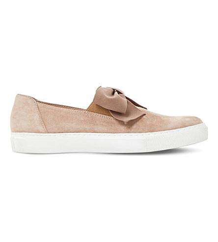 DUNE Emelia bow-trim suede skate shoes (Nude-suede