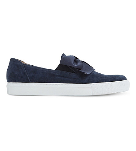 DUNE Entrance bow-detail suede skate shoes (Navy-suede