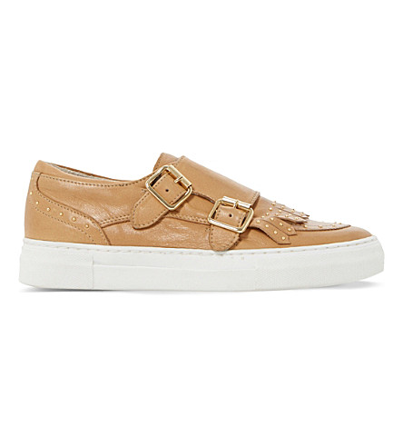 DUNE Ervyn leather trainers (Camel-leather