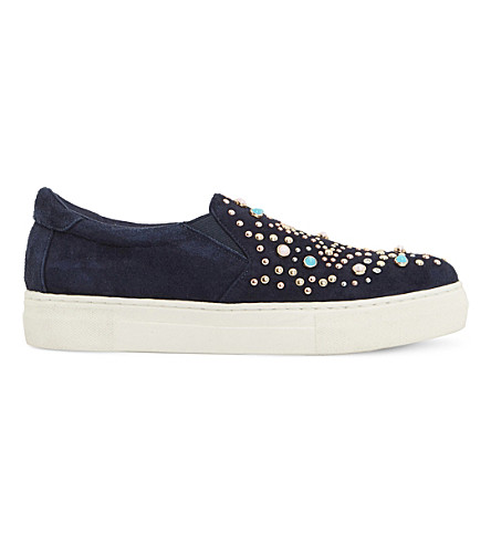 DUNE Elha star embellished suede trainers (Blue-suede