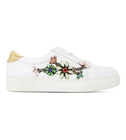 DUNE Emerelda embellished leather trainers (White-leather