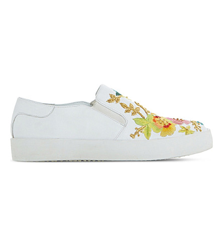 DUNE Evanni embroidered leather skate shoes (White-leather