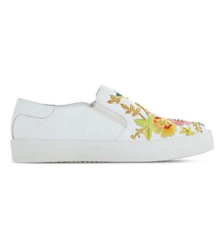 DUNE Evanni 刺绣皮革滑板鞋履 (白色皮革