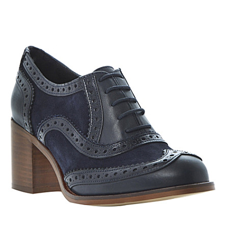 BERTIE Amor suede and leather heeled brogues (Navy-patent