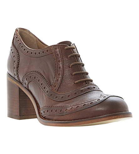 BERTIE Amor suede and leather heeled brogues (Tan-patent