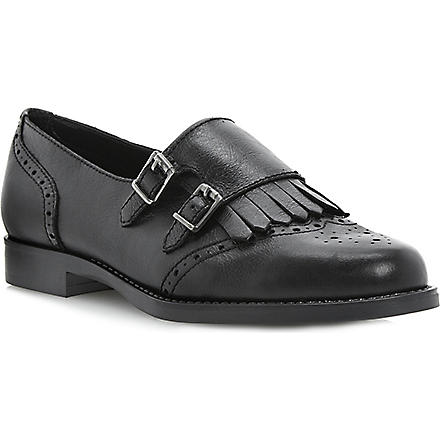BERTIE Double-buckle leather monk shoes (Black-leather