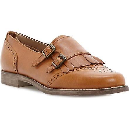 BERTIE Double-buckle leather monk shoes (Tan-leather