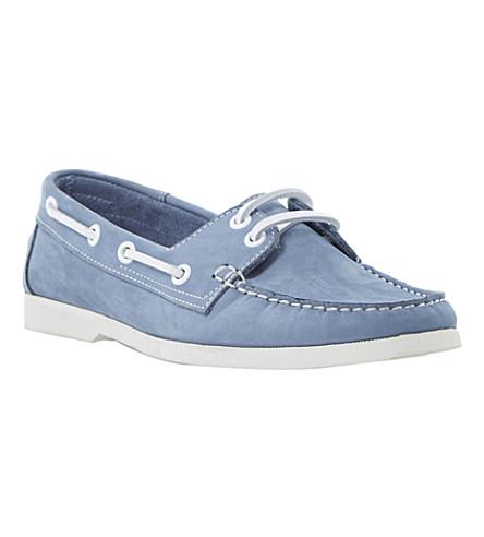 BERTIE Linken leather boat shoes (Blue-nubuck
