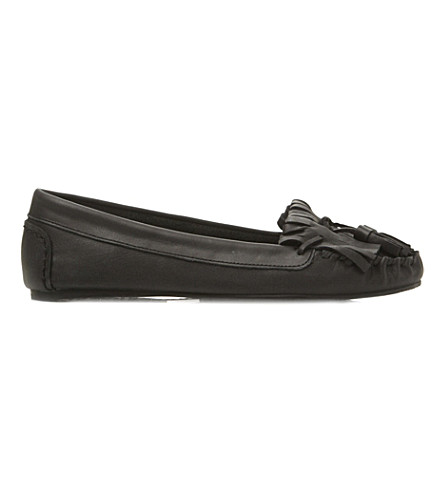 BERTIE Lantern tassel trim leather moccasins (Black-leather