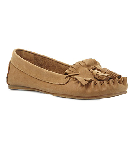 BERTIE Lantern tassel trim leather moccasins (Tan-leather