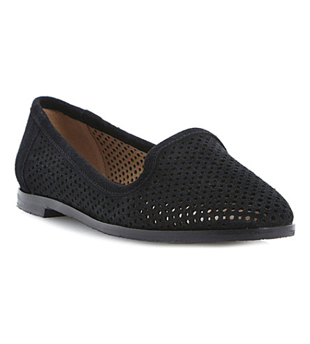 BERTIE Langham laser cut-out suede slipper shoes (Black-suede