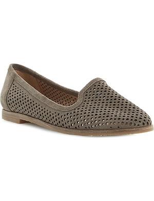 BERTIE Langham laser cut-out suede slipper shoes