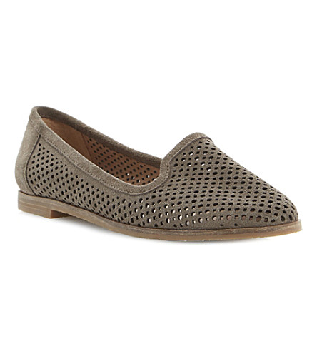 BERTIE Langham laser cut-out suede slipper shoes (Taupe-suede