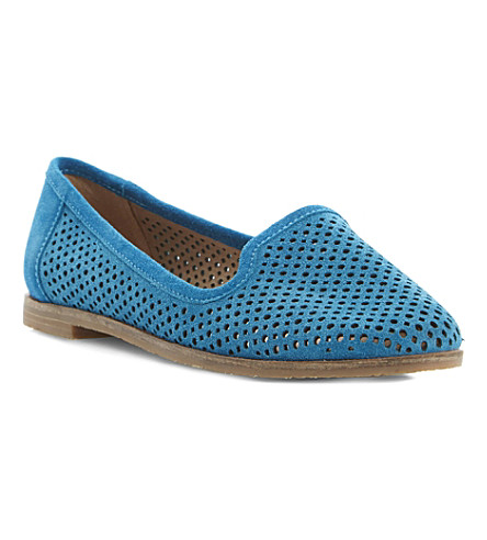 BERTIE Langham laser cut-out suede slipper shoes (Teal-suede