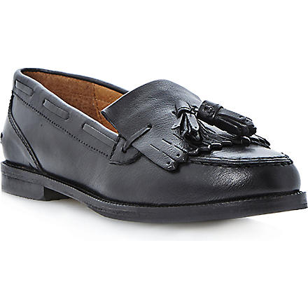 BERTIE Tassel and fringe leather loafers (Black-leather
