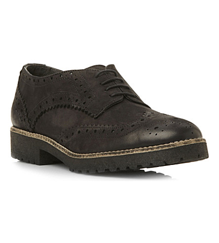 BERTIE Leto suede brogues (Black-leather