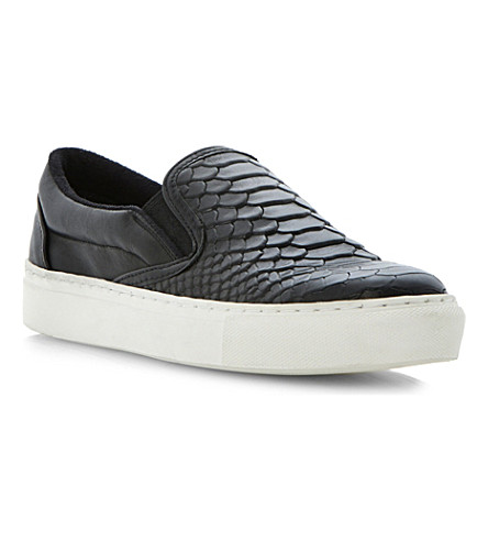 BERTIE Putney leather plimsoles (Black-leather