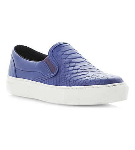 BERTIE Putney leather plimsoles (Blue-leather