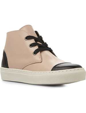 BERTIE Pollyana lace-up leather high-top trainers