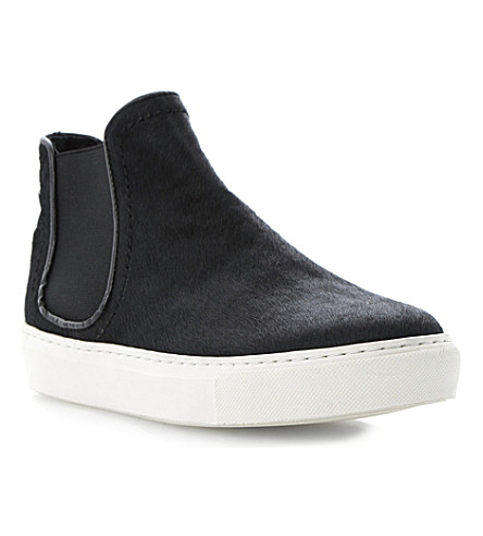 BERTIE Ponyhair hi-top trainers (Black-pony