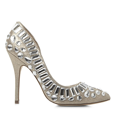 STEVE MADDEN Galactik embellished semi d'orsay court shoes (Pewter-leather