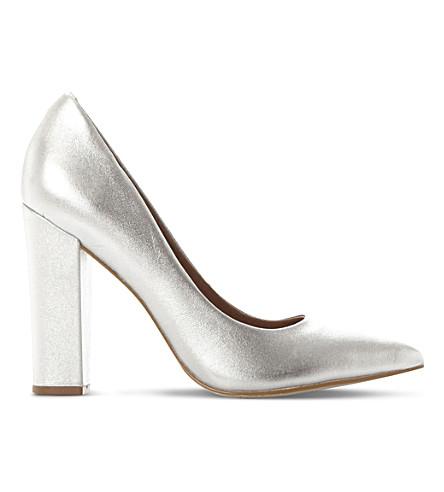 STEVE MADDEN Primpy metallic leather block heel shoes (Silver-leather