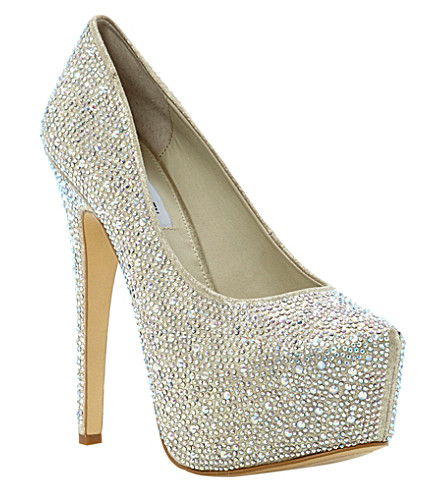 STEVE MADDEN Deeva rhinestone-embellished courts (Champagne-synthetic