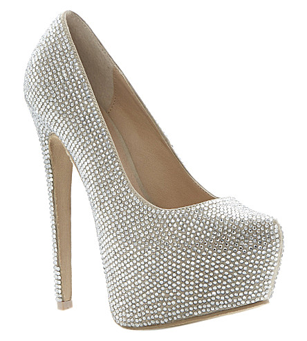 STEVE MADDEN Dandy rhinestone-embellished courts (Silver-diamantes